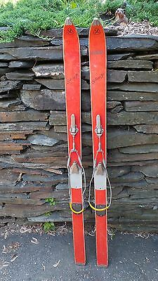"VINTAGE Wooden 52"" Skis Signed SCHUSS JR GREAT FOR DECORATION"