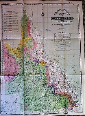 Large Scale Original Map Artesian Basin Geology Bores and Tanks Queensland 1897