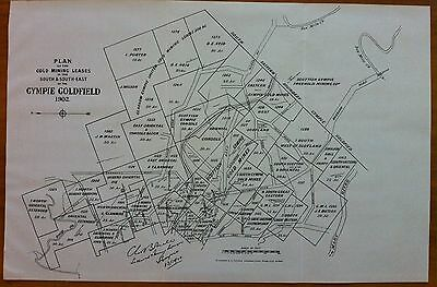 Original Map Gympie Goldfield Queensland Showing Mining Leases Companies 1902