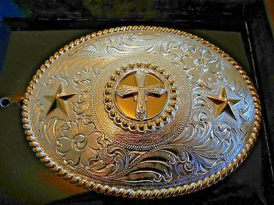 Nocona Silver Tone with Gold Cross Pattern Belt Buckle, New