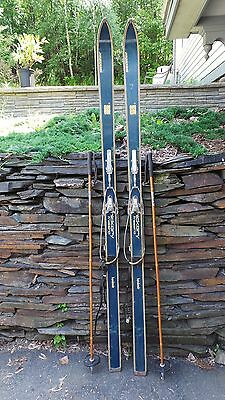 "VINTAGE Wooden 77"" Skis Has Original BLUE Finish Signed KANDAHAR"