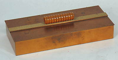 Vintage Art Deco Chase Copper Cigarette Trinket Box Butterscotch Bakelite Handle