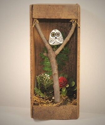 Unique Stone Owl in Tree Shadow Box