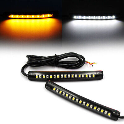 2x Motorcycle 17LED Flexible Strip Light Turn Signal Indicator White+Amber