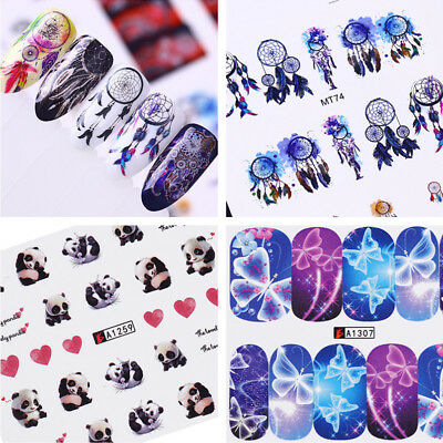 12Patterns Nail Water Decals Nail Art Stickers Transfer Manicure Decoration DIY