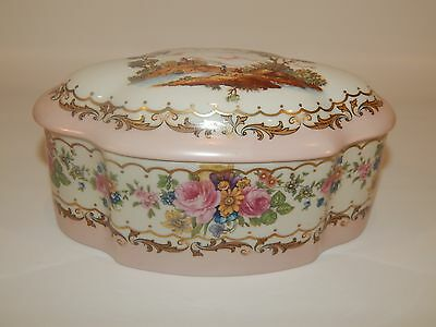 "DRESDEN  OLD  PORCELAIN  HAND PAINTED TRINKET BOX  8""  x  5""  x  4"""