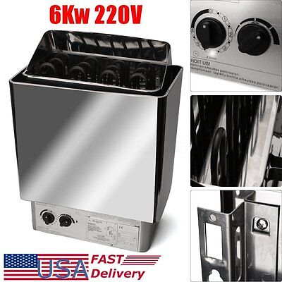 6KW Sauna Heater Stove Wet & Dry Stainless Steel External Control Spa US Stock