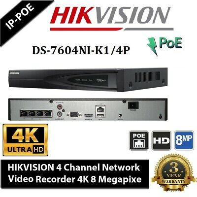 Hikvision DS-7604NI-K1/4P 8MP 4K 4POE NVR Upgradable Firmware 3yr warranty