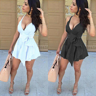 US STOCK Women Sleeveless Bandage Bodycon Evening Party Cocktail Club Mini Dress