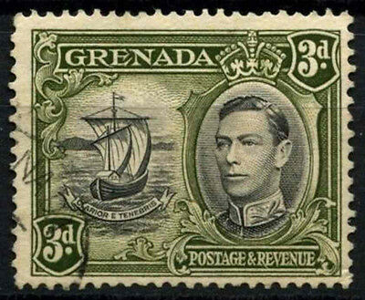 Grenada 1938-50 SG#158a 3d Black & Olive Green KGVI P13.5x12.5 Used #D52143