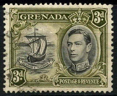 Grenada 1938-50 SG#158ab 3d Black & Brown Olive KGVI P13.5x12.5 Used #D52146