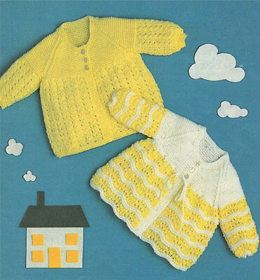 Baby knitting pattern Dress and Cape in 4 Ply including Premmie size