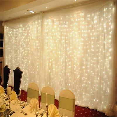 SAA 3x3M 6x3M 600LED Curtain Lights String Fairy Wedding Night Light Waterfall