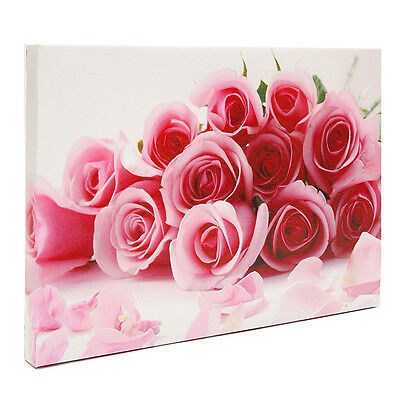 Bouquet of Pink Roses Canvas Print Flower Painting Modern Picture Decor Framed