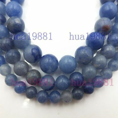 """Natural blue Aventurine Jewelry Making Accessories 15""""Chain Round Loose Beads"""