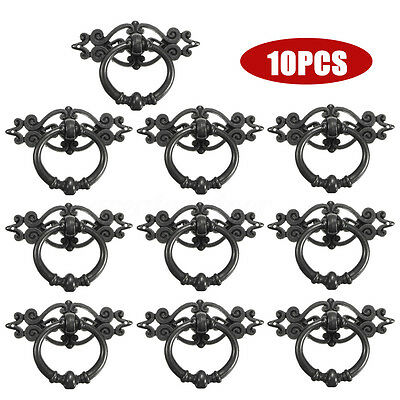 10Pcs Vintage Antique Cabinet Wardrobes Door Cupboard Pull Ring Handle Knobs US