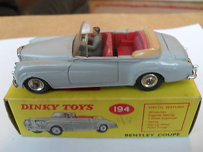 DINKY CARS No 194 BENTLEY COUPE VN MINT IN EXCELLENT BOX