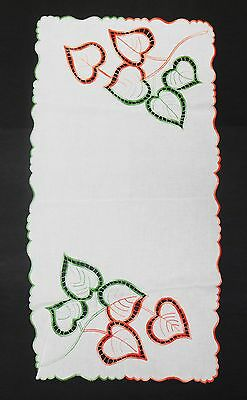 Vintage Cotton Linen Cutwork Table Runner Scarf Embroidered Leaves