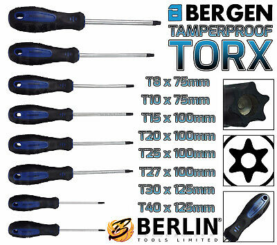 BERGEN Tamperproof TORX Magnetic Screwdriver Set Star Set T8-T40 Torx Drive 8pc