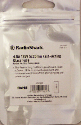 Fast Acting 4-Amp 250-Volt Fuses #270-1066 By RadioShack PKG of 4 NEW