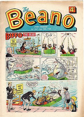 Beano comic 1367.September 28th 1968. Fine. Complete with cartoon character.