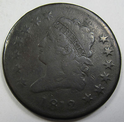 1812 early copper Large Cent - VG (#39a)