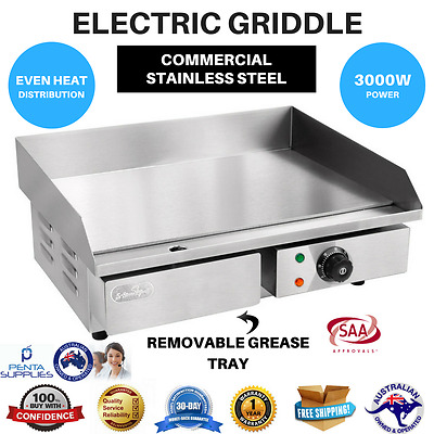 Electric Griddle Grill Hot Plate Stainless Steel Commercial BBQ Countertop 3000W