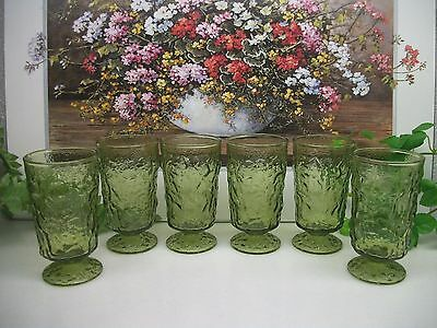6  Anchor Hocking Avocado Green  LIDO  Footed 6 oz. Juice Beverage Glass Glasses