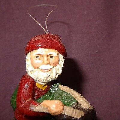 Santa Claus Sitting on Goat Ornament Christmas Holiday Wax 3""