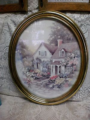 VINTAGE Homco Home Interiors Gold Frame Oval Picture Garden Cottage