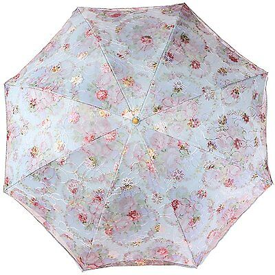 Anti-UV Embroidered Sun Protection Folding Parasol Umbrella UPF 40+ Outdoor New