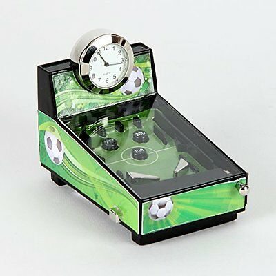 Football Theme Pinball Machine Miniature Clock In Shiny Chrome, Green & Black