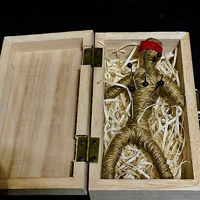 Authentic Voodoo Doll  Wood Box Hand Made With  Pins