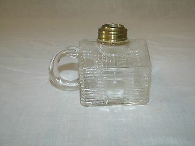 """""""EXTREMELY SCARCE"""" Clear ANTIQUE """"1868"""" ATTERBURY LOG CABIN Mini FINGER OIL LAMP"""