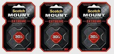 """3 ~ Scotch 1"""" W x 60"""" L Mounting Tape BLACK Moisture Resistant Extremely Strong"""