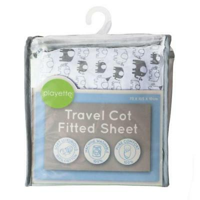 Playette Printed Travel Cot Fitted Sheet (White) Free Shipping!