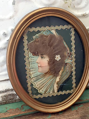 Antique Framed Victorian Lady Post Card Real Hair Oval gold Frame