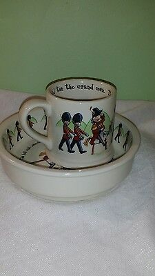 1890 Anderton Pottery Childrens 2 Pc  Duke York Bowl  & Mug