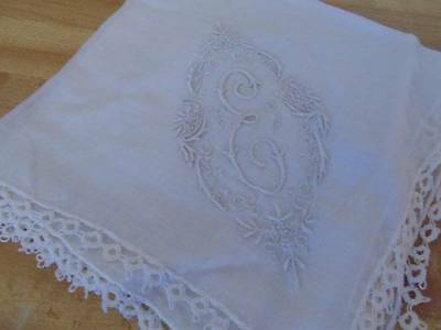 Vintage Monogrammed ladies hankie, inital E, tatting edge