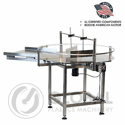 "Globaltek Stainless Steel 60"" Dia. Unscrambler Rotary Table with In Feed Table"