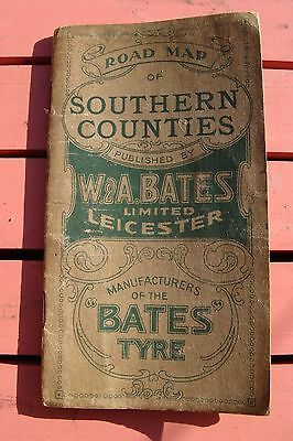 Rare Antique Advertising Road Map Of Southern Counties - Bates Tyre - Circa 1904