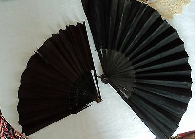 TWO Antique Black Silk Hand Fans - Mourning AGE DAMAGE