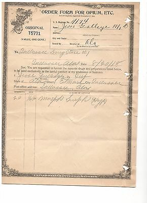 Vintage 1920's Order Form For Opium Tallassee, Alabama