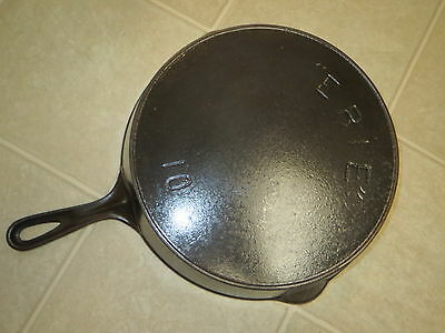 """Pre Griswold """"ERIE"""" No.10 Cast Iron Skillet with HR"""