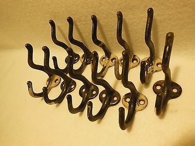 True Antique Vintage Set Of 11 Cast Iron Wall Type Double Hat And Coat Hooks