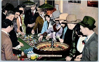 """1940s Nevada Postcard """"Wooing Lady Luck in Nevada"""" Casino Roulette Table Linen"""