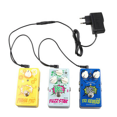 EU Plug Guitar Pedal Power Supply Adapter + 3 Way Daisy Chain + Insulated Caps