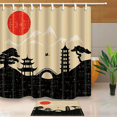 71inch Japanese Style Painting Shower Curtain Set With Hooks Bathroom Decor