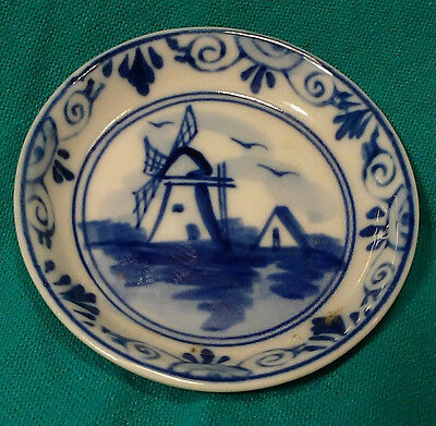 """Hand Painted Delfts Blue  Windmill Scene 2-1/4"""""""