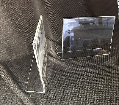 10 x A4 Clear Acrylic Sign Holder, Photo frame, Menu holder, angled counter sign